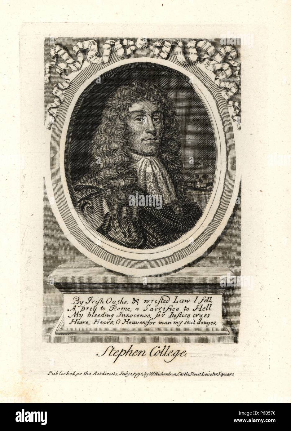 Stephen College, the protestant joiner. Executed 1681, from a rare print. Copperplate engraving from Richardson's 'Portraits illustrating Granger's Biographical History of England,' London, 1792–1812. Published by William Richardson, printseller, London. James Granger (1723–1776) was an English clergyman, biographer, and print collector. - Stock Image