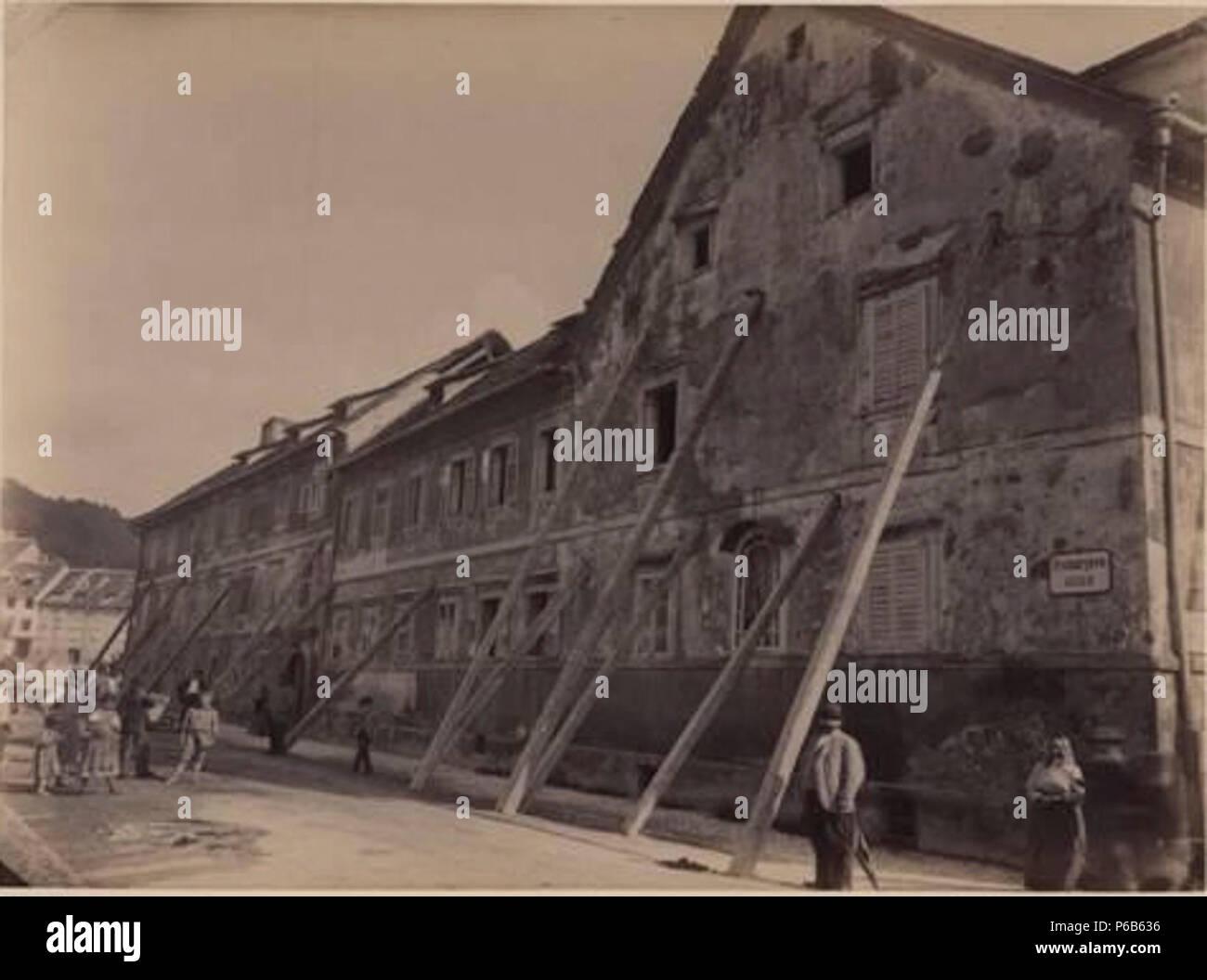 1895 Ljubljana earthquake by Helfer - Karlovška cesta. - Stock Image
