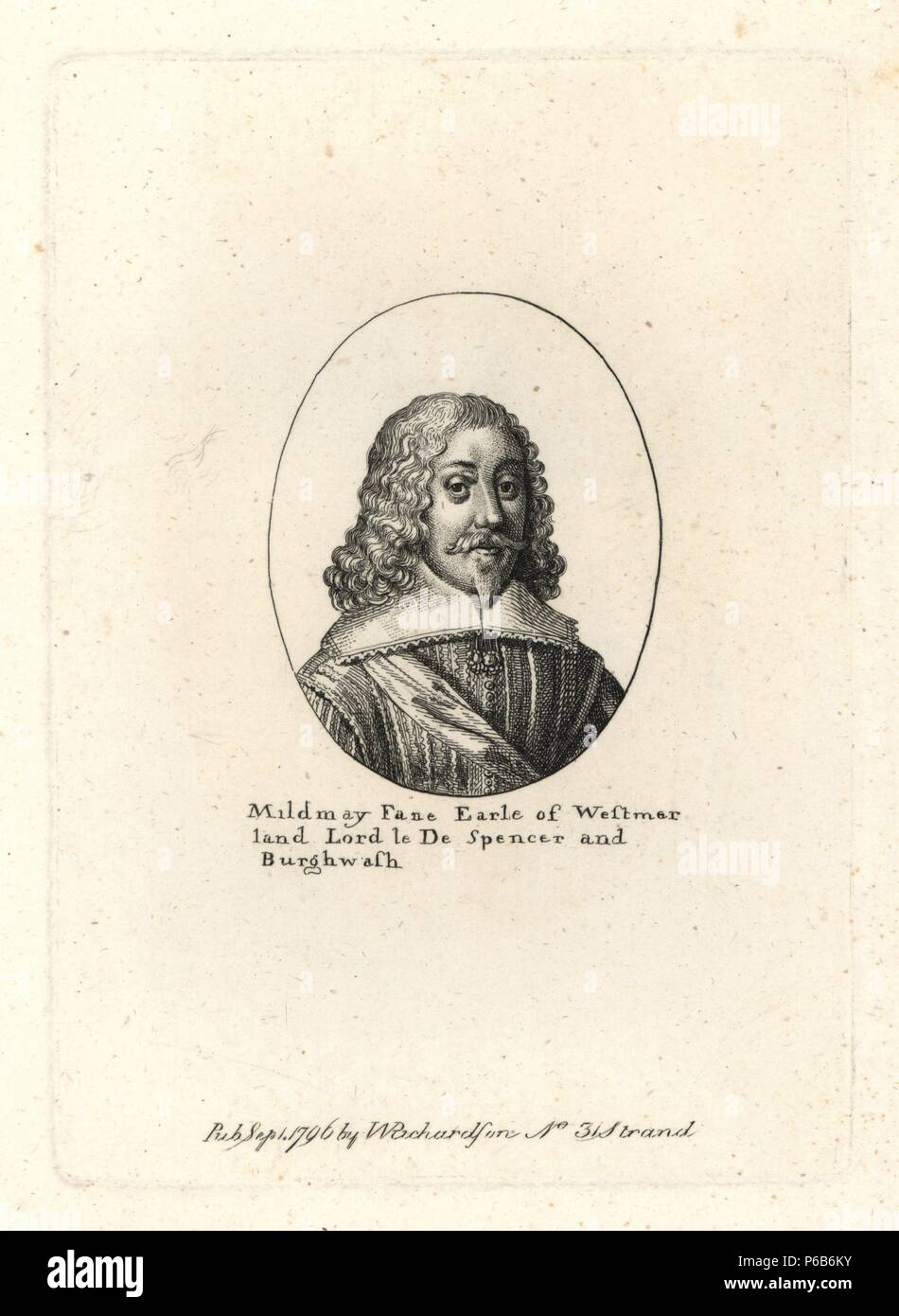 """Mildmay Fane, Earl of Westmoreland, died 1665. From a small oval by Wenceslas Hollar. Copperplate engraving from Richardson's """"Portraits illustrating Granger's Biographical History of England,"""" London, 1792–1812. Published by William Richardson, printseller, London. James Granger (1723–1776) was an English clergyman, biographer, and print collector. Stock Photo"""