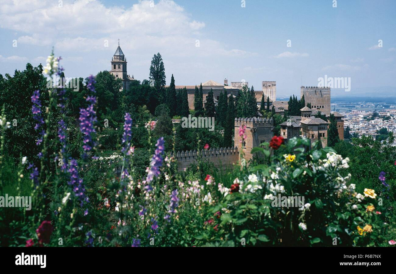 Spain. Granada. The Alhambra. 9th century. View of the walls and towers of the royal enclosure, from the gardens of the Generalife. Stock Photo