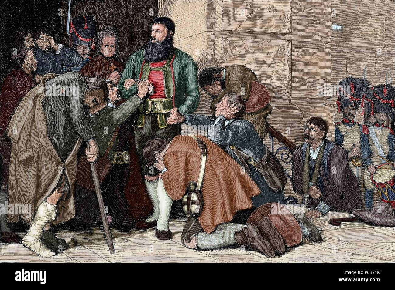 Andreas Hofer (1767-1810). Tyrolean patriot. Leader of the Tyrolean rebellion against Bonapartist imperialism. Hofer led to execution. Engraving. Colored. - Stock Image