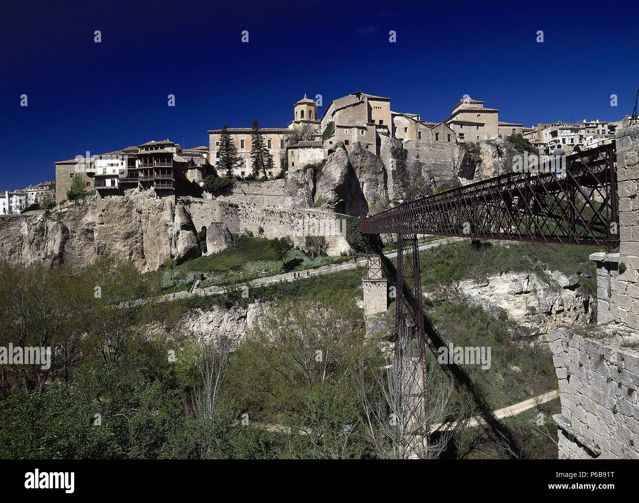 Spain. Cuenca. Panorama of the old city with Hanging Houses in the Huecar Gorge. First, the Bridge of Saint Paul. - Stock Image