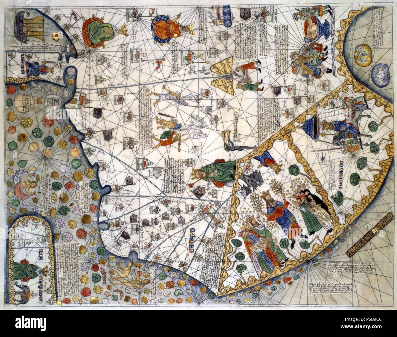 Detail of Asia from the Catalan Atlas by Abraham Cresques, c. 1375. Museum: Museo Marítimo, Barcelona. Stock Photo
