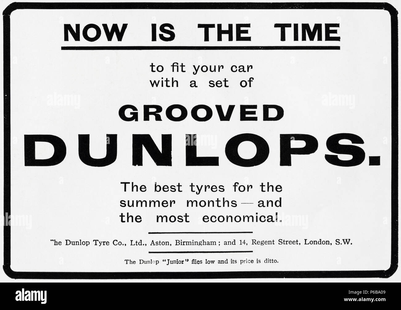 Early 20th century old vintage original antique advert advertising Dunlop Grooved Tyres of Aston Birmingham England UK in English magazine circa 1910 - Stock Image