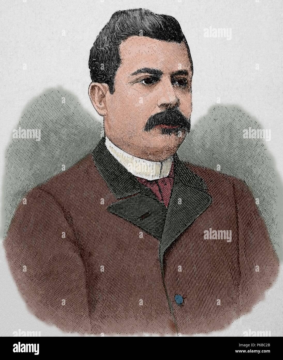 Juan Isidro Jimenes Pereyra (1846-1919) Dominican political. President of the Dominican Republic between 1899-1902 and 1914-1916. Engraving. 'La Ilustracion Artistica',1899. Colored. - Stock Image