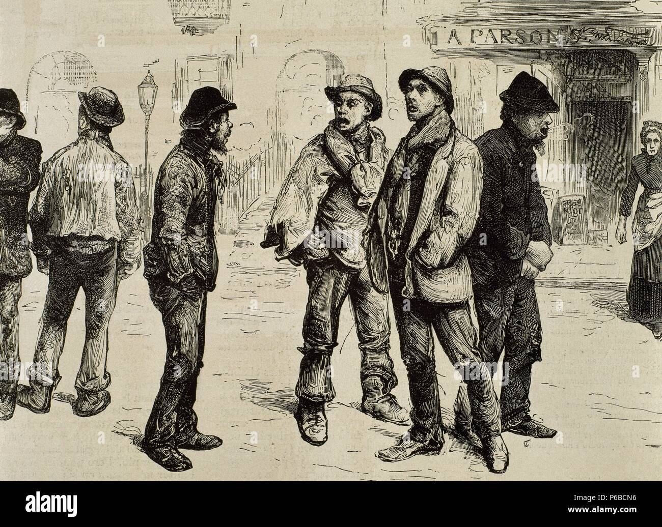 Great Britain. London. Unemployed workers who participated in the meeting of February 8, 1886 and raided stores Picadilly. England. - Stock Image