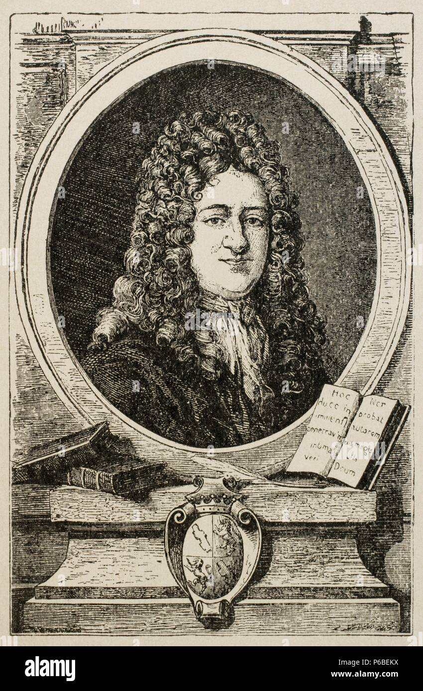 Gottfried Wilhelm Leibniz (1646-1716). German mathematician and  philosopher. Engraving in The Universal History, M. Verges, 1917.