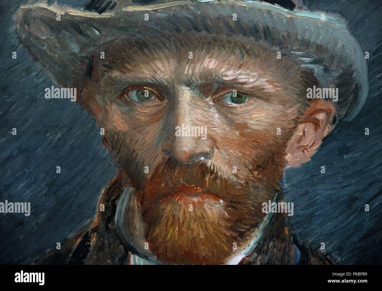 Vincent van Gogh (1853-1890). Dutch painter. Self-portrait, 1887. Detail. Rijksmuseum. Amsterdam. Holland. - Stock Image