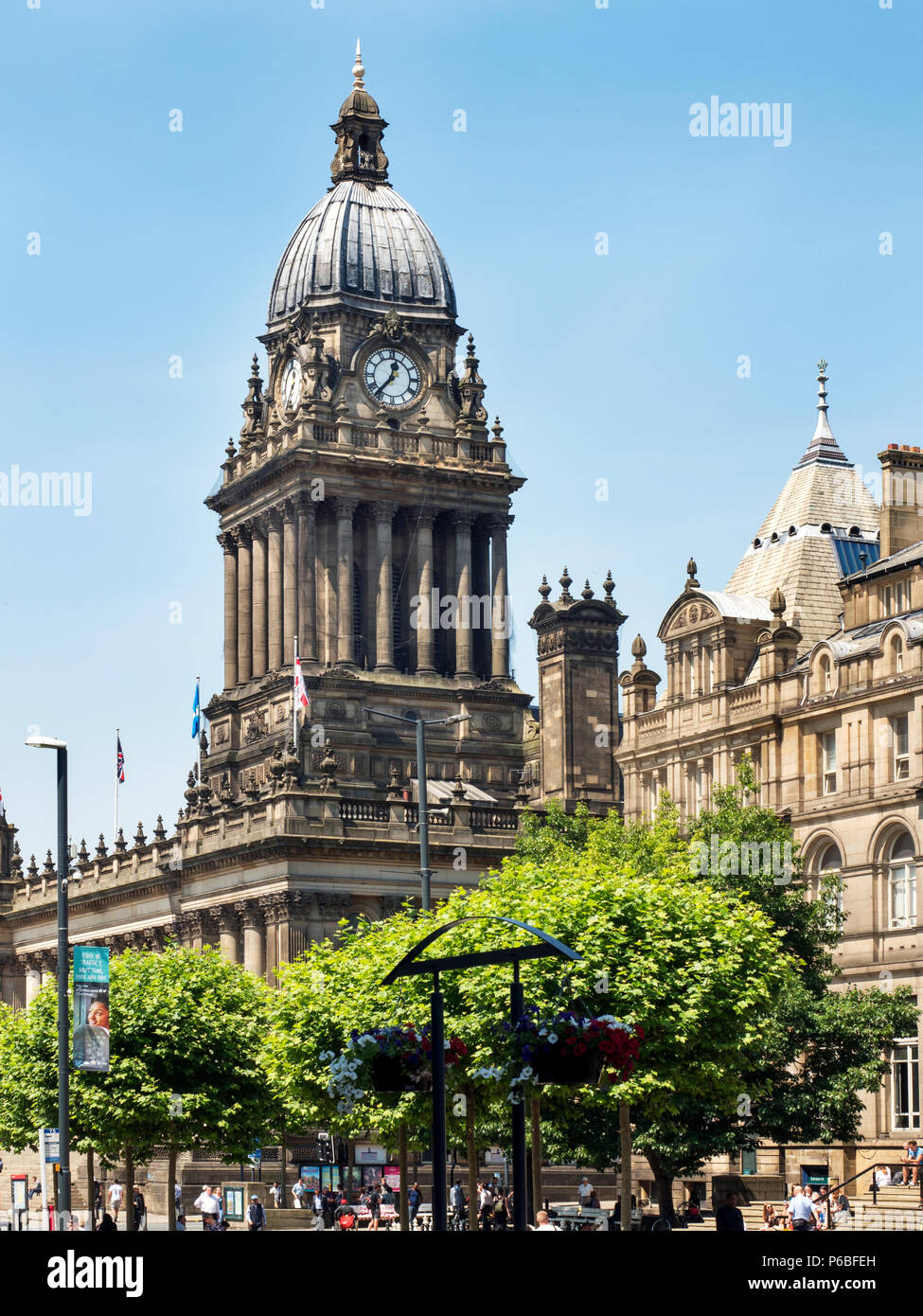 Leeds Town Hall in Summer from The Headrow Leeds West Yorkshire England - Stock Image