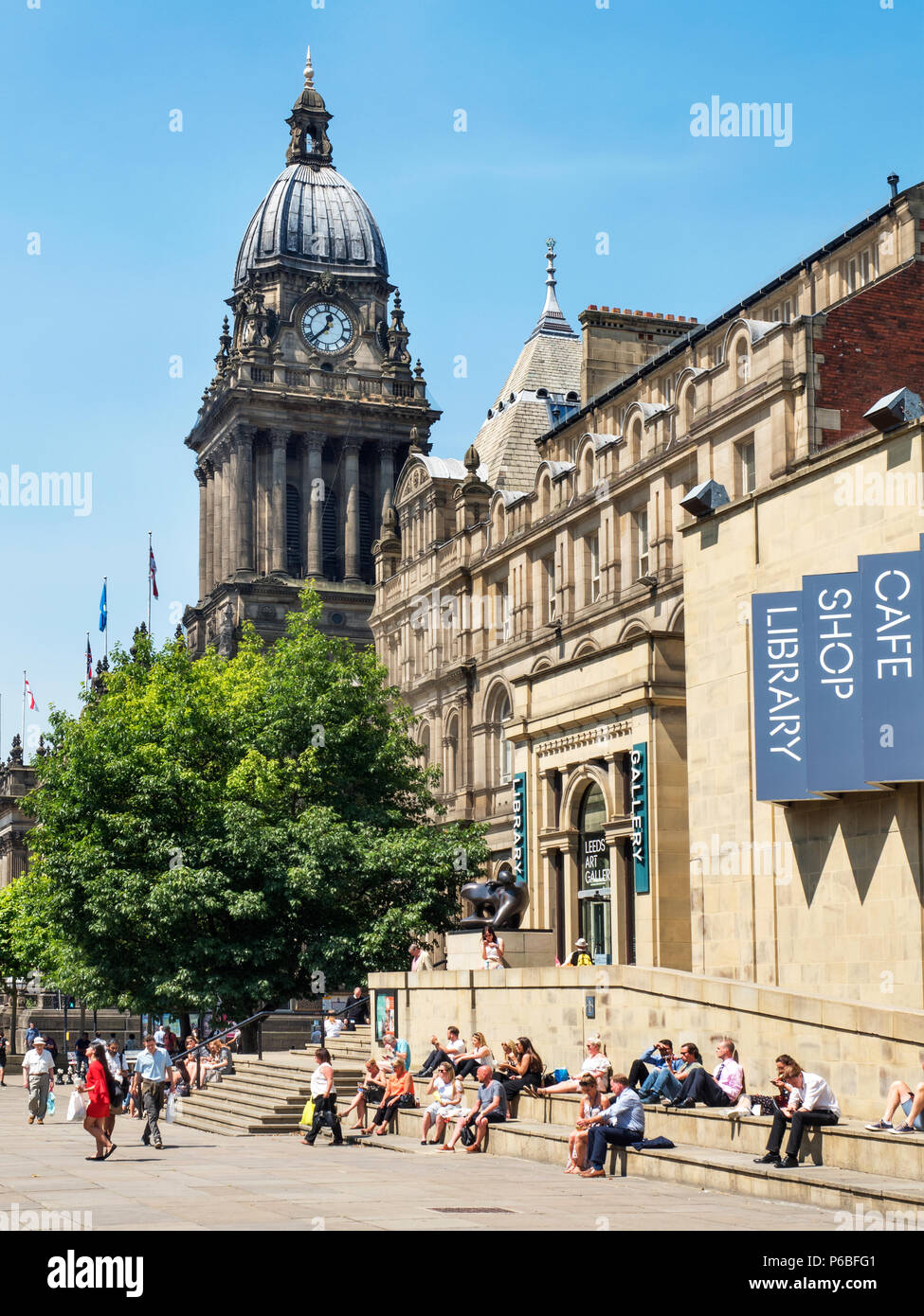 Leeds Town Hall and Art Gallery in Summer from The Headrow Leeds West Yorkshire England - Stock Image