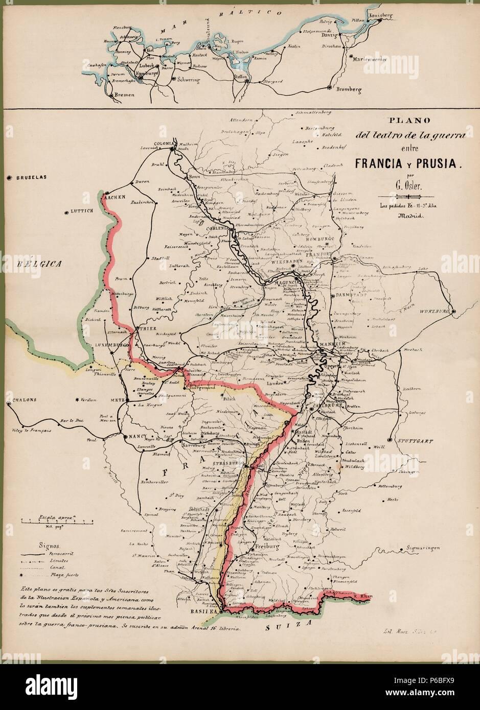 Plano del teatro de la guerra entre Francia y Prusia en 1870. Grabado de 1876. - Stock Image
