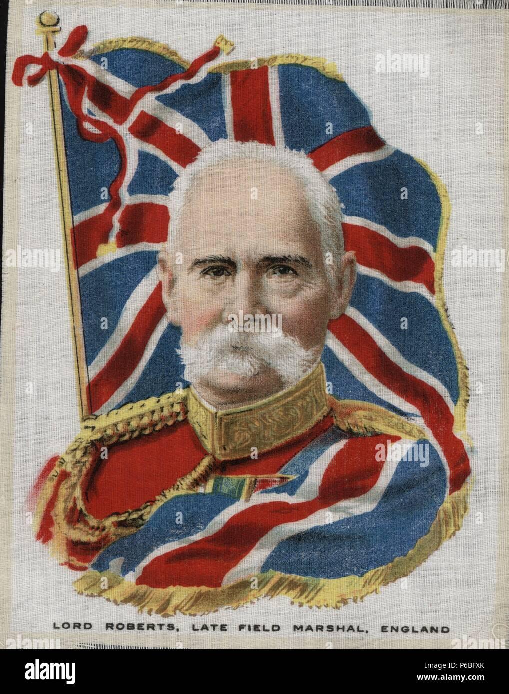 Lord Frederick Sleigh Roberts (1832-1914) conde de Kandahar, mariscal de campo, último comandante en jefe de las fuerzas británicas hasta la abolición del cargo en 1904. Retrato y bandera impresos sobre tela. Años 1920. - Stock Image