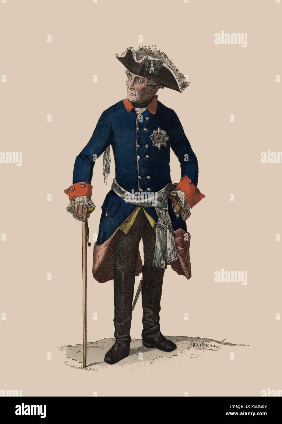 Federico II el Grande de Hohenzollern (1712-1786), rey de Prusia, con uniforme de la guardia de Potsdamer. Grabado alemán del siglo XIX. - Stock Image
