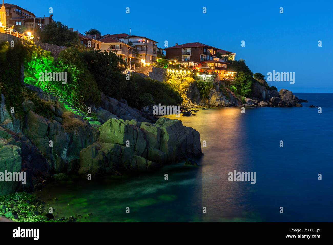 Night photo of old town of Sozopol of Sozopol ancient fortifications, Bulgaria - Stock Image