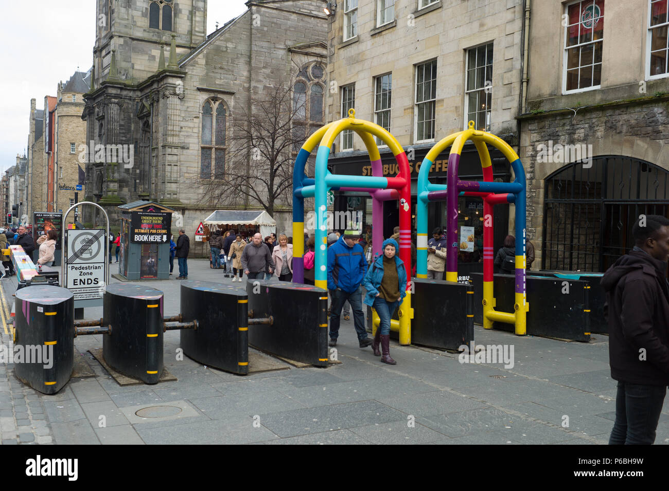 Vehicle anti terrorist barriers on the Royal Mile in Edinburgh Scotland - Stock Image