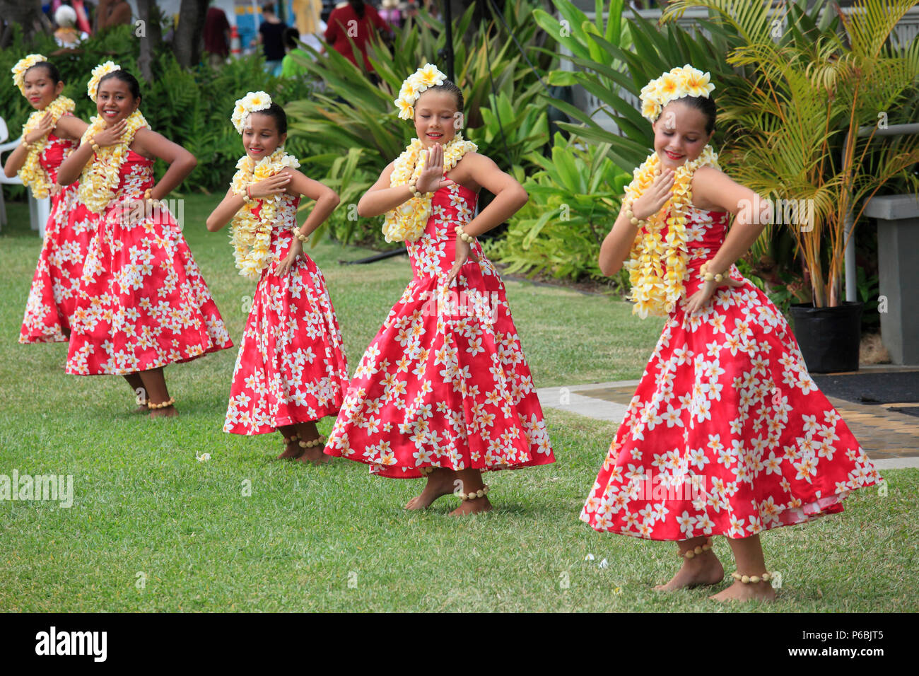 Hawaii, Big Island, Kailua-Kona, hula show, dancers, - Stock Image