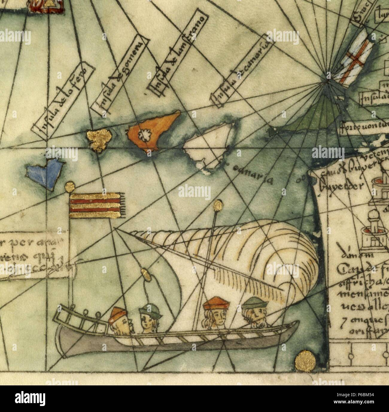 Detail of Catalan Atlas by Abraham Cresques, c. 1376. Museum: Museo Marítimo, Barcelona. Stock Photo