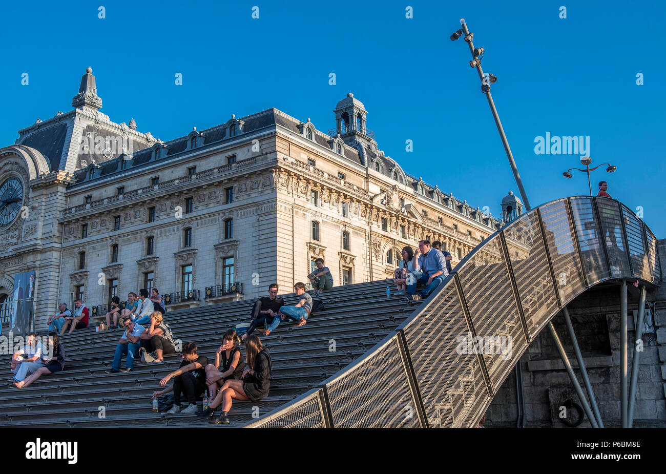 France, Ile de France, Paris, 7th district, steel bleachers on the bank at the foot of the Musee d'Orsay - Stock Image
