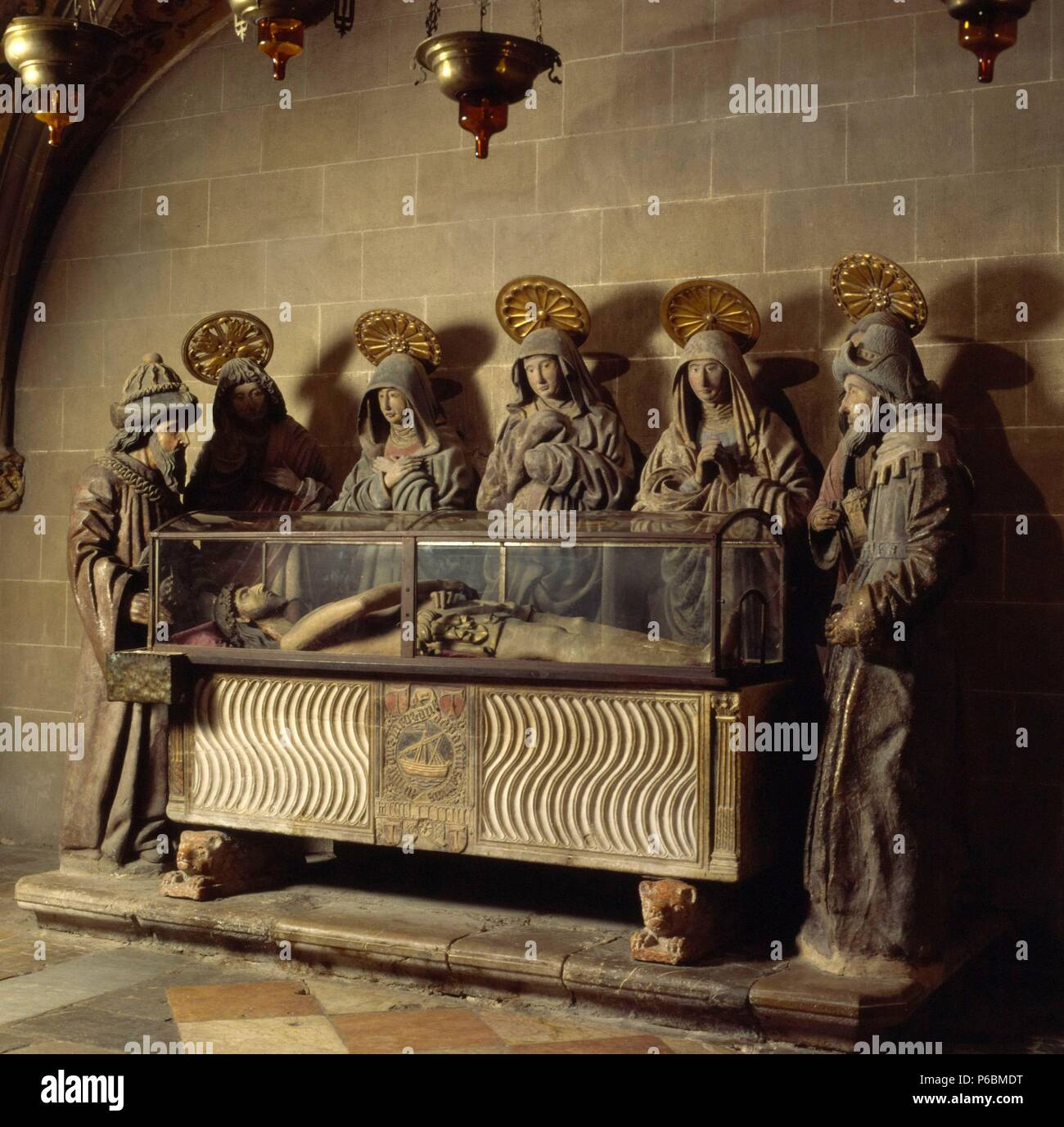 Chapel of the Holy Sepulchre (1494), housing a Roman sarcophagus with  Gothic additions. Tarragona Cathedral. Museum: Catedral de Santa María,  Tarragona.