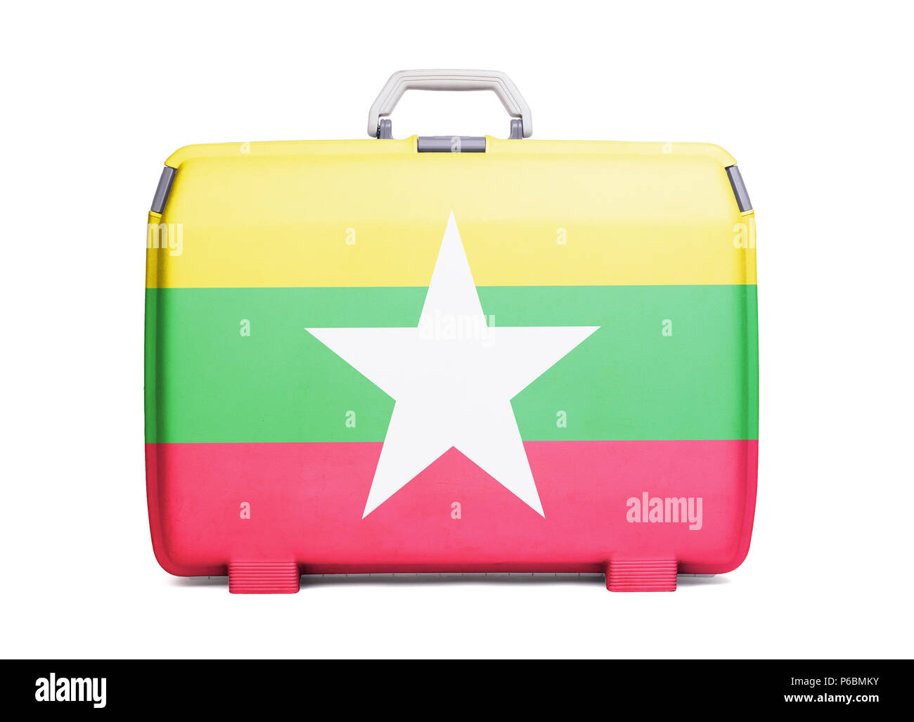 Used plastic suitcase with stains and scratches, printed with flag, Myanmar Stock Photo