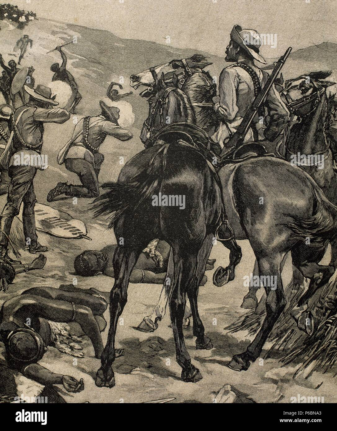 Anglo-Zulu War. Fought in 1879 between the British Empire and the Zulu Kingdom. Engraving by Marguerite. La Ilustracion Iberica, 1898. - Stock Image