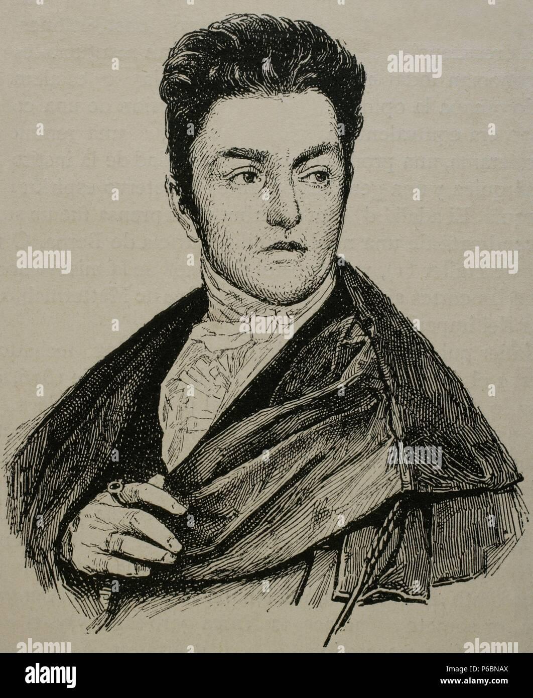 Maximilian Emanuel von Lerchenfeld (1778-1843). Germany. Engraving by Historia Universal, 1883. - Stock Image