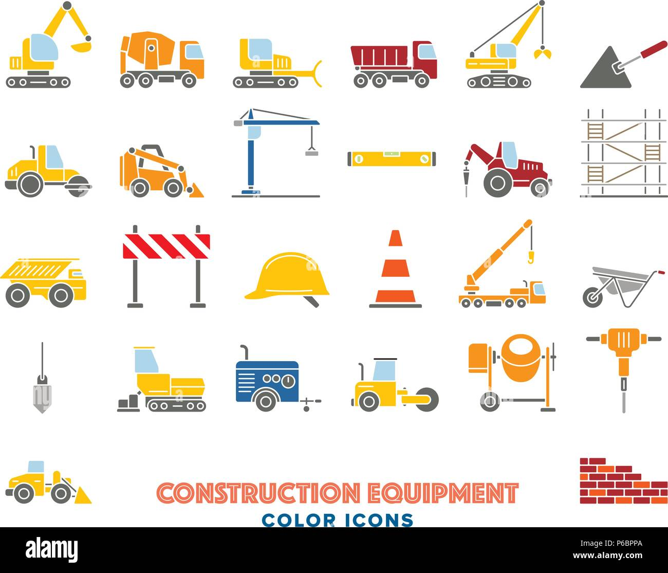 Collection of colored construction equipment vector icons on white background - Stock Vector