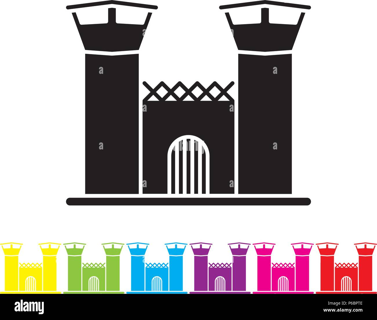 Jail house glyph icon vector. Law enforcement and criminal justice symbol. - Stock Vector