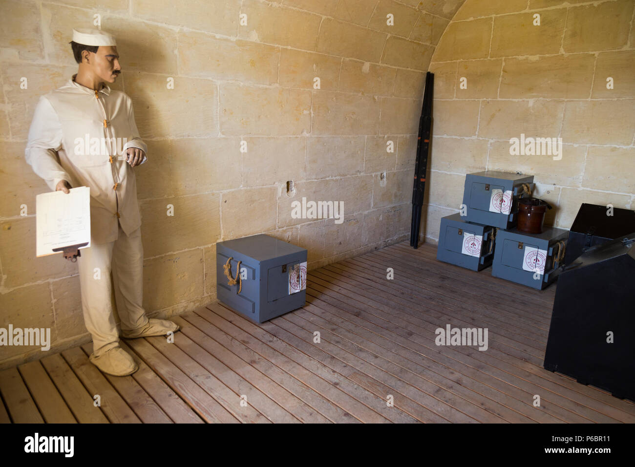 Gunpowder storeroom of the Saluting Battery artillery battery, the guns of which fire the 4pm time signal everyday, in Valletta, Malta. (91) - Stock Image