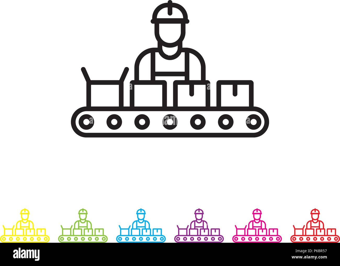 Assembly Icon: Conveyor Belt Factory Industry Icon Stock Photos