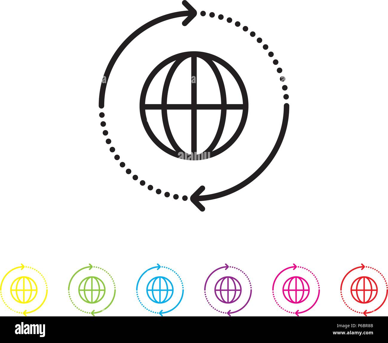 Global logistics vector line icon. Cargo, shipping and travel industry symbol. - Stock Vector