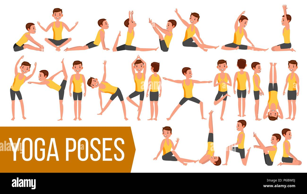Yoga Man Poses Set Vector. Relaxation And Meditation. Stretching And Twisting. Practicing. Body In Different Poses. Cartoon Character Illustration - Stock Vector