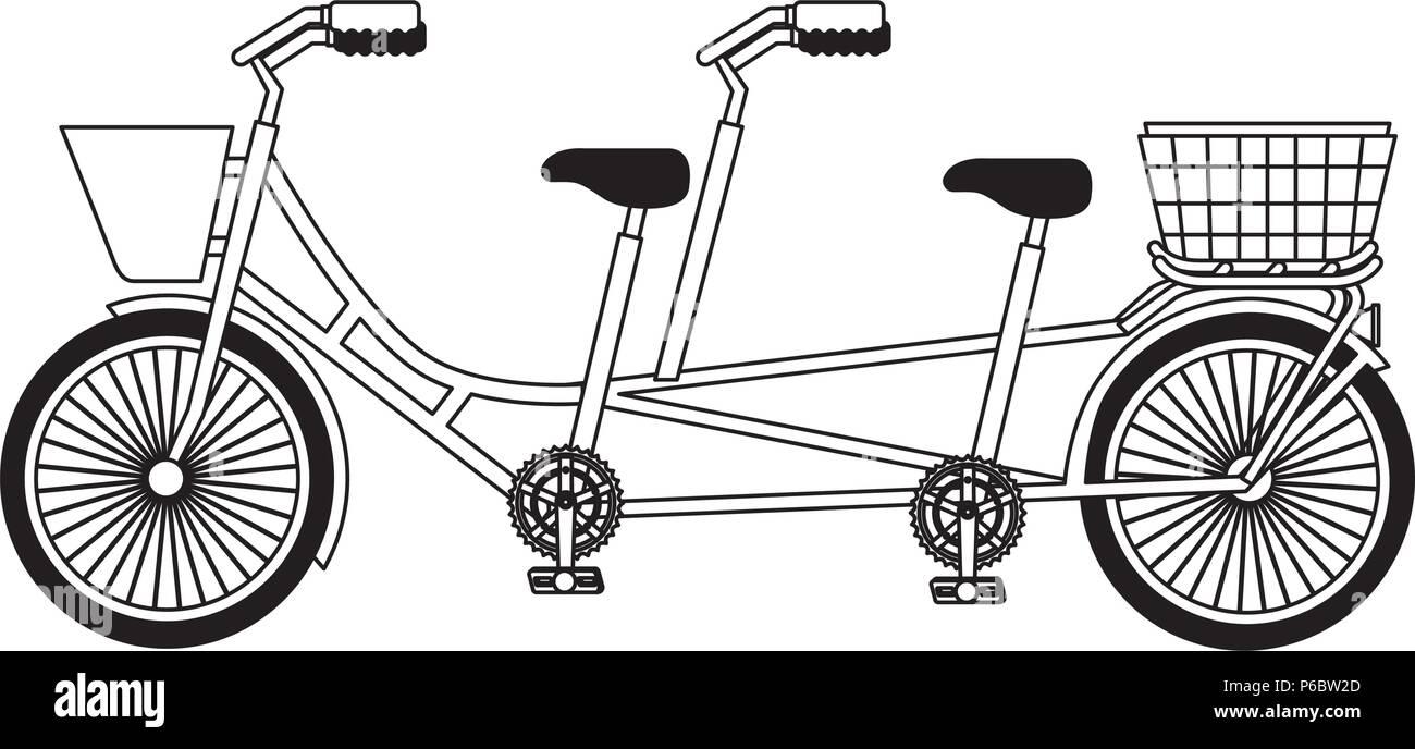 retro tandem bicycle icon - Stock Image