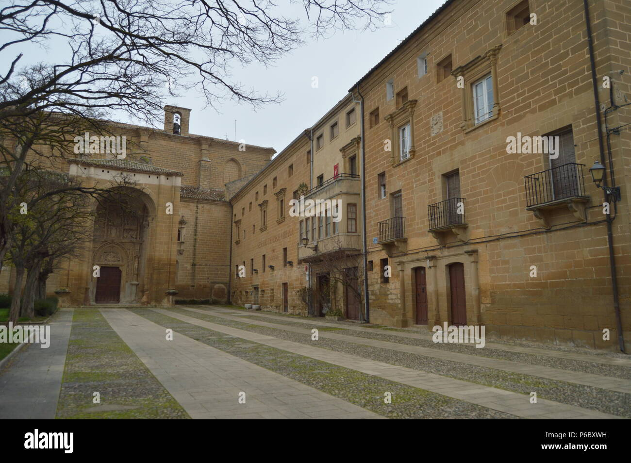 Main Square Of Casalarreina With Its Picturesque Buildings And The Church Of San Martin. Architecture, Art, History, Travel. December 27, 2015. Casala - Stock Image