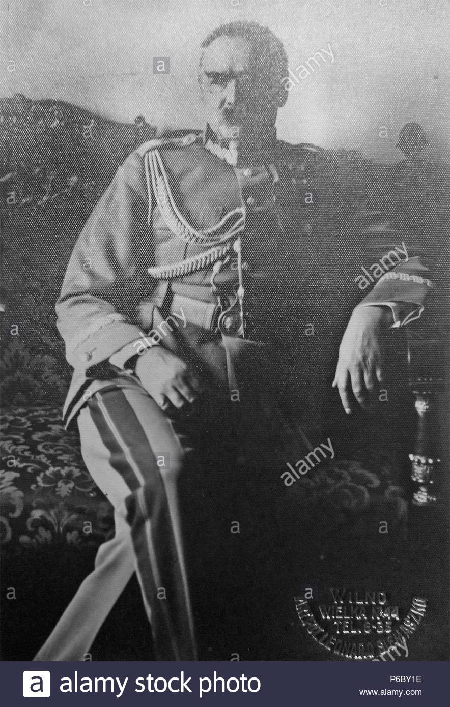 Józef Klemens Piłsudski (5 December 1867 – 12 May 1935) - Polish politician - Stock Image