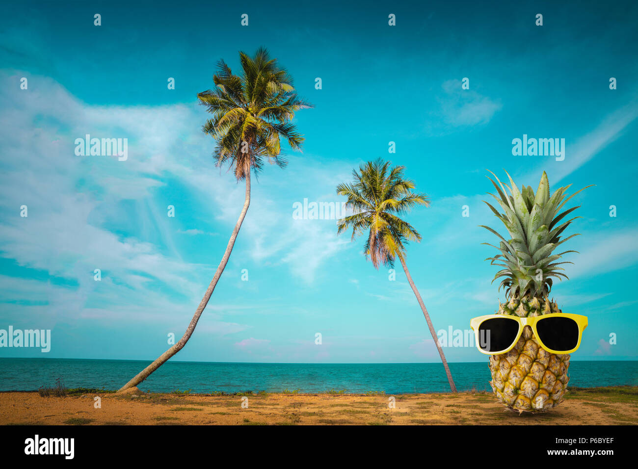 Tropical summer delights, Fresh pineapple on the beach, Fashion ...