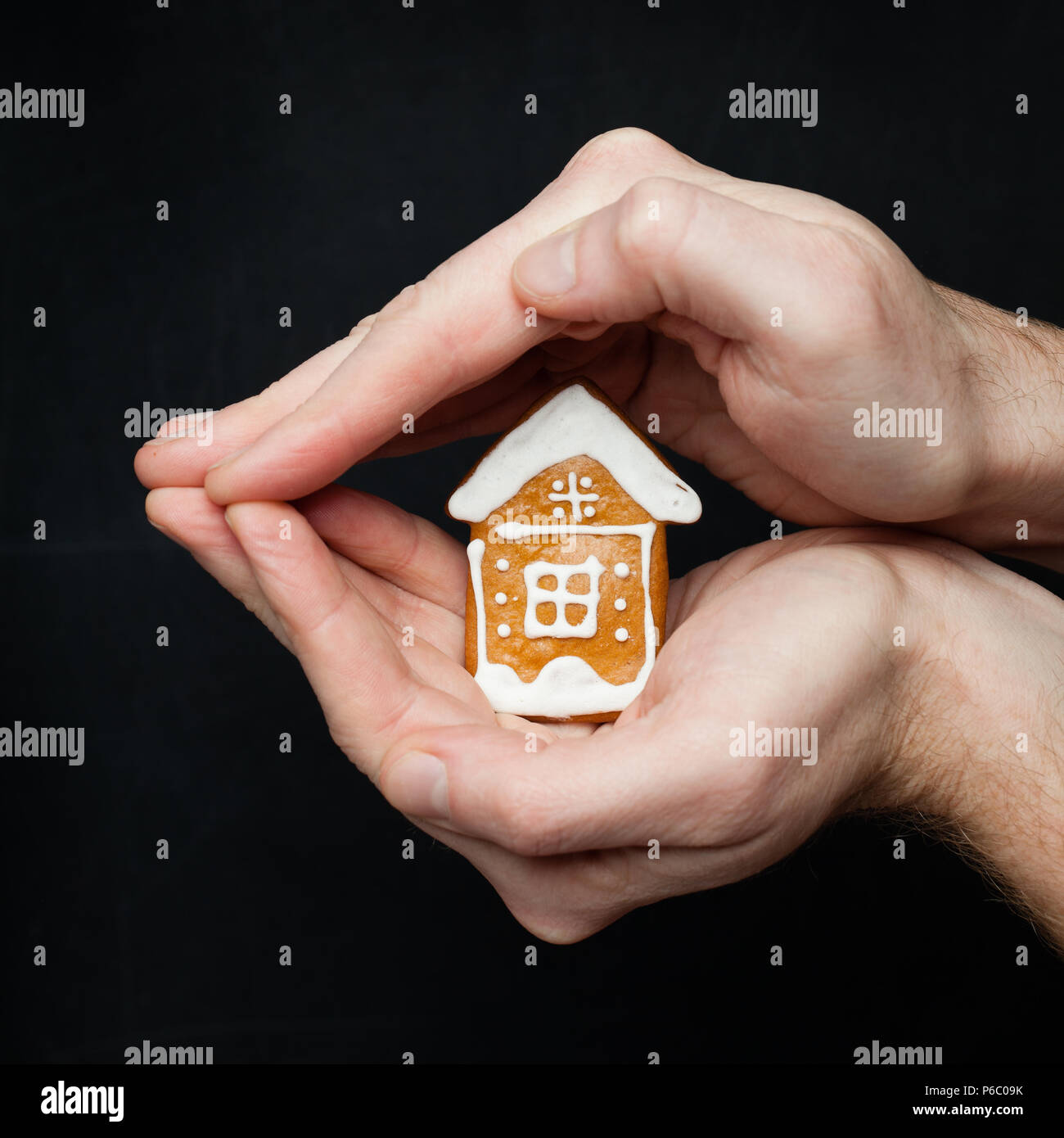 Real estate insurance, protection and property for sale concept - Stock Image