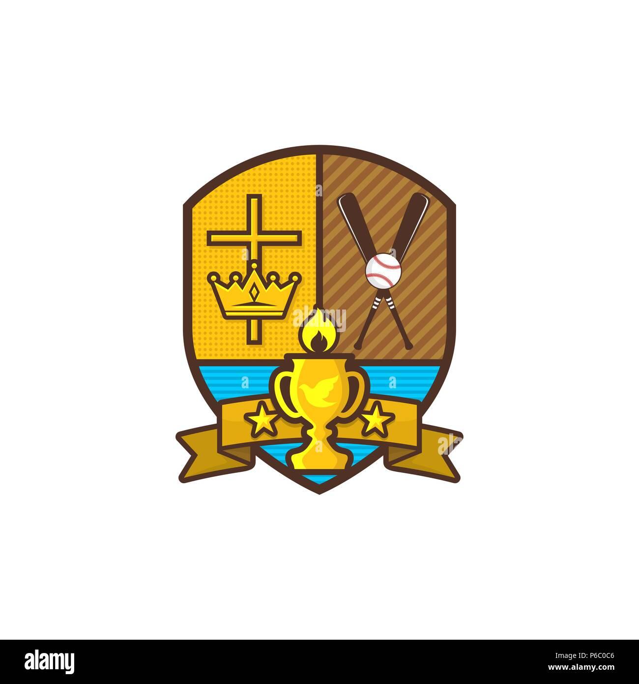 Christian Sports Logo Shield Goblet Cross Of Jesus Crown A