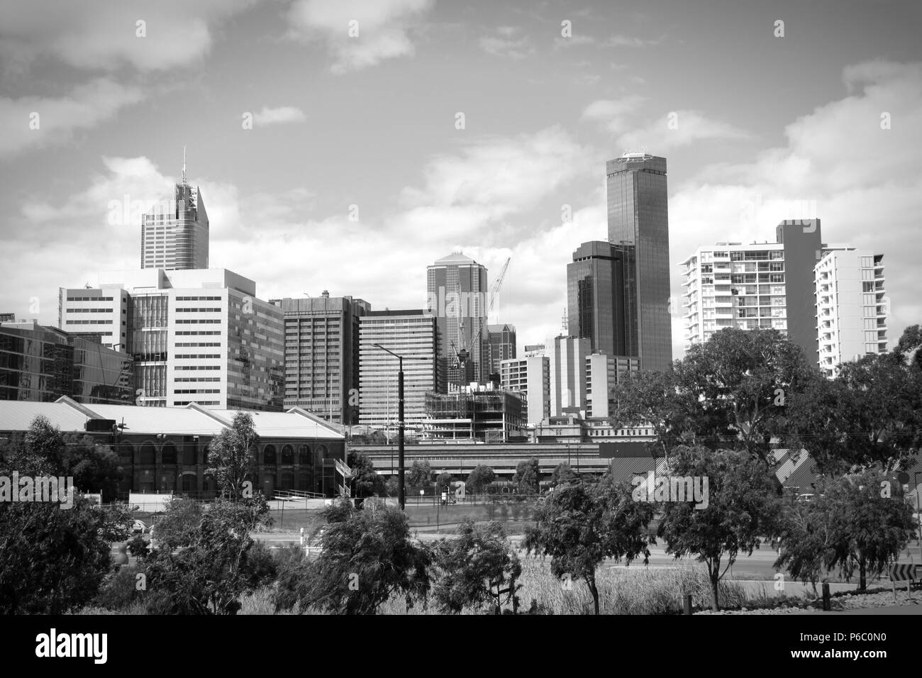 Melbourne skyline as seen from the Docklands. Beautiful modern city in Australia. Black and white tone - retro monochrome color style. - Stock Image