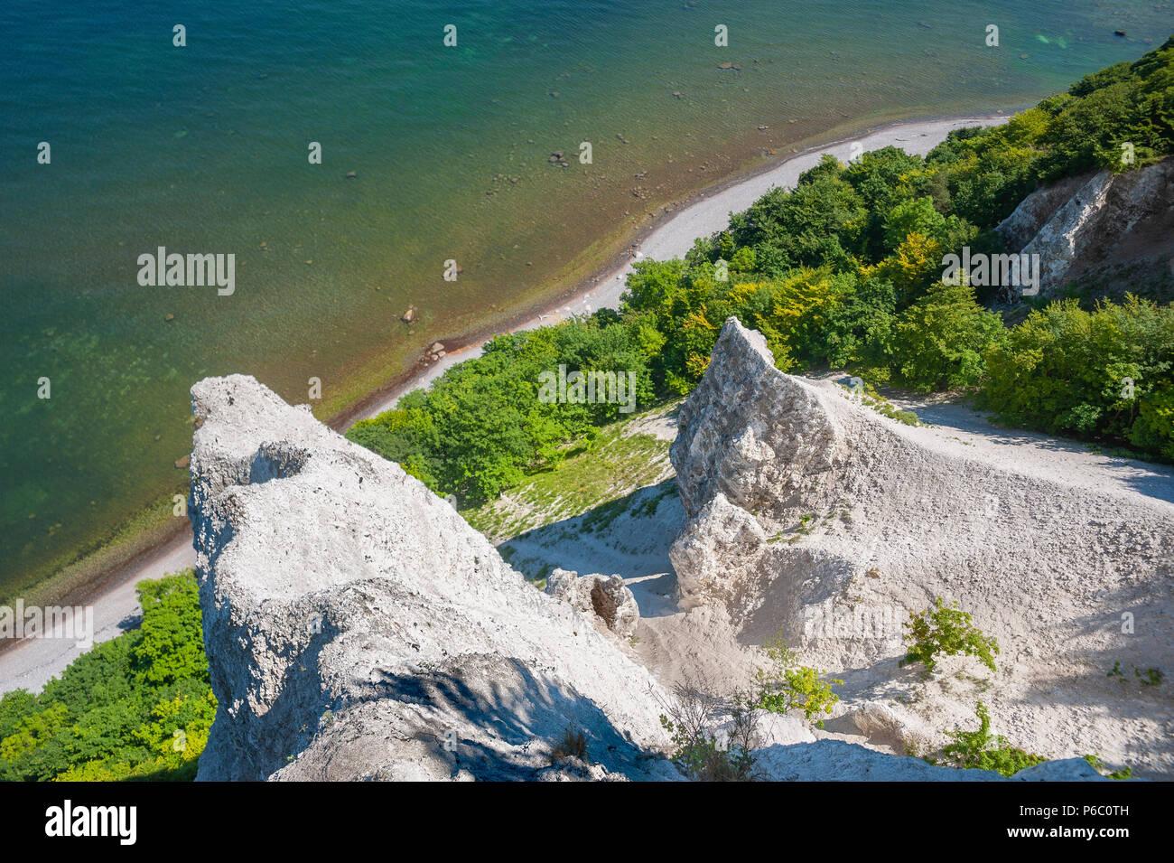 Chalk cliffs at the Victoriasicht observation point in the Jasmund National Park, Sassnitz, Rügen, Mecklenburg-Vorpommern, Germany, Europe Stock Photo