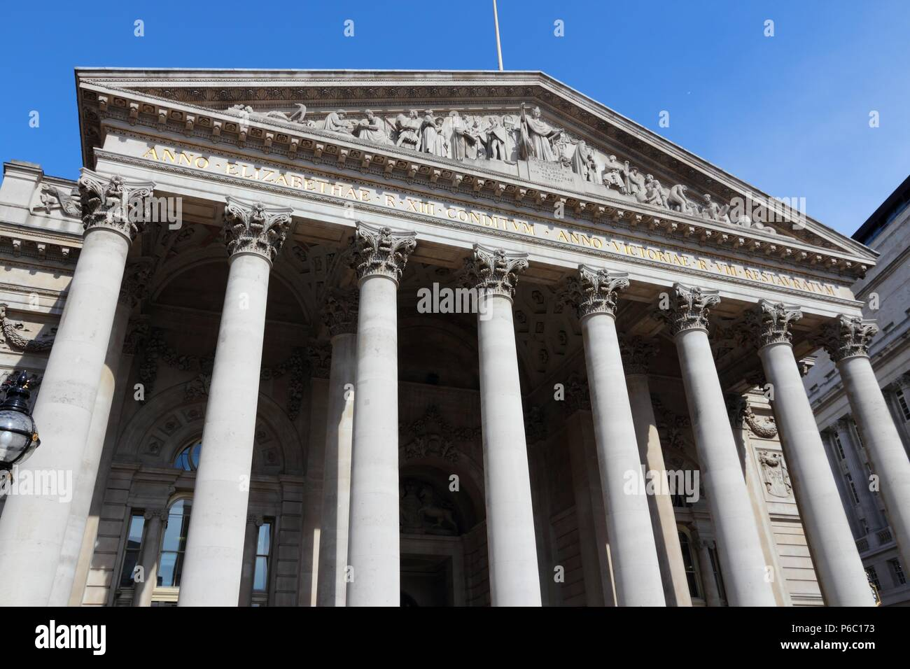 London, United Kingdom - Royal Exchange building at Bank junction. - Stock Image