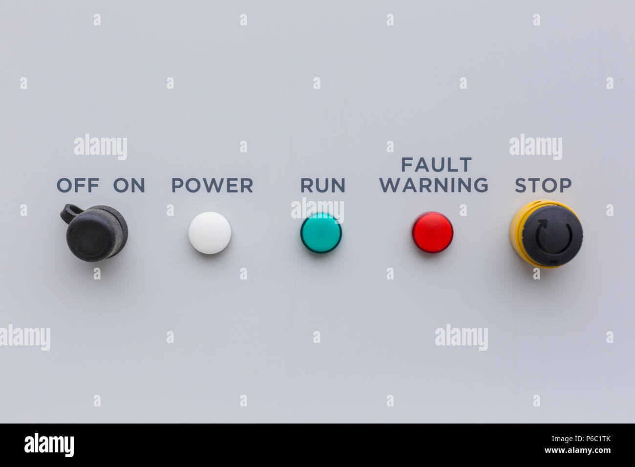 Simple control panel with indicator lights - Stock Image