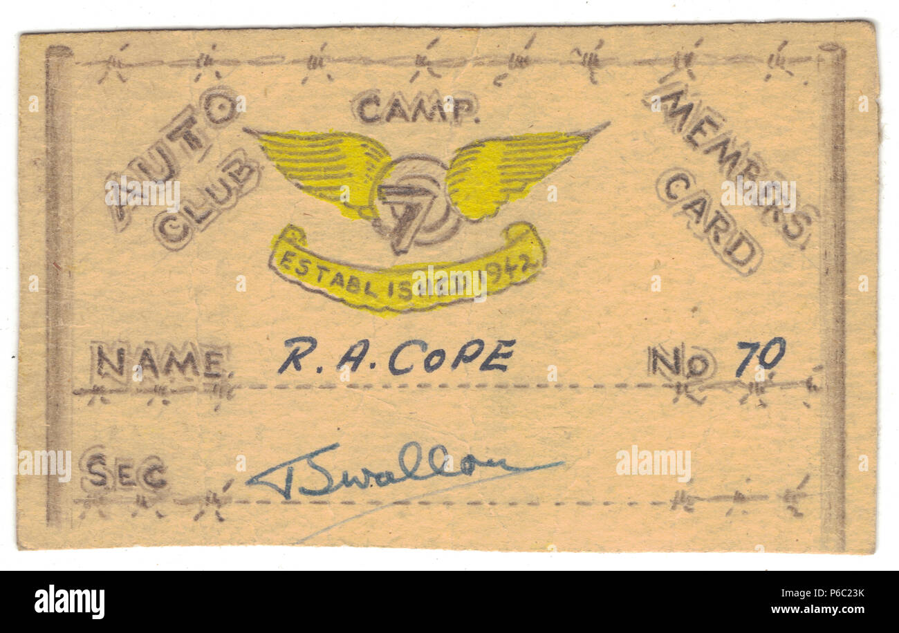 Membership card to the Auto Club, formed in the Prisoner of war camps by British pow and founded by Tom Swallow, it later became the Flywheel Club, also known as The Muhlberg Motor Club 1944 - 1945, Stalag IV-B - Stock Image
