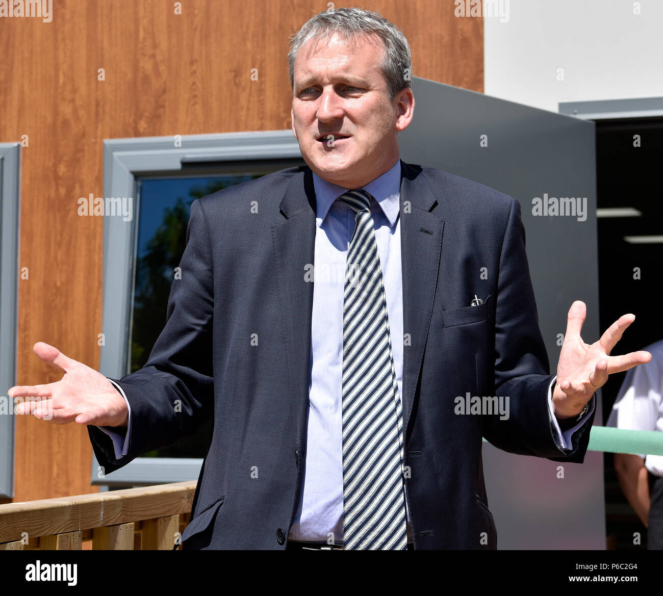 Damian Hinds, Conservative MP for East Hampshire and Secretary of State for Education, speaking at the opening of a new school refectory, Alton, Hamps - Stock Image