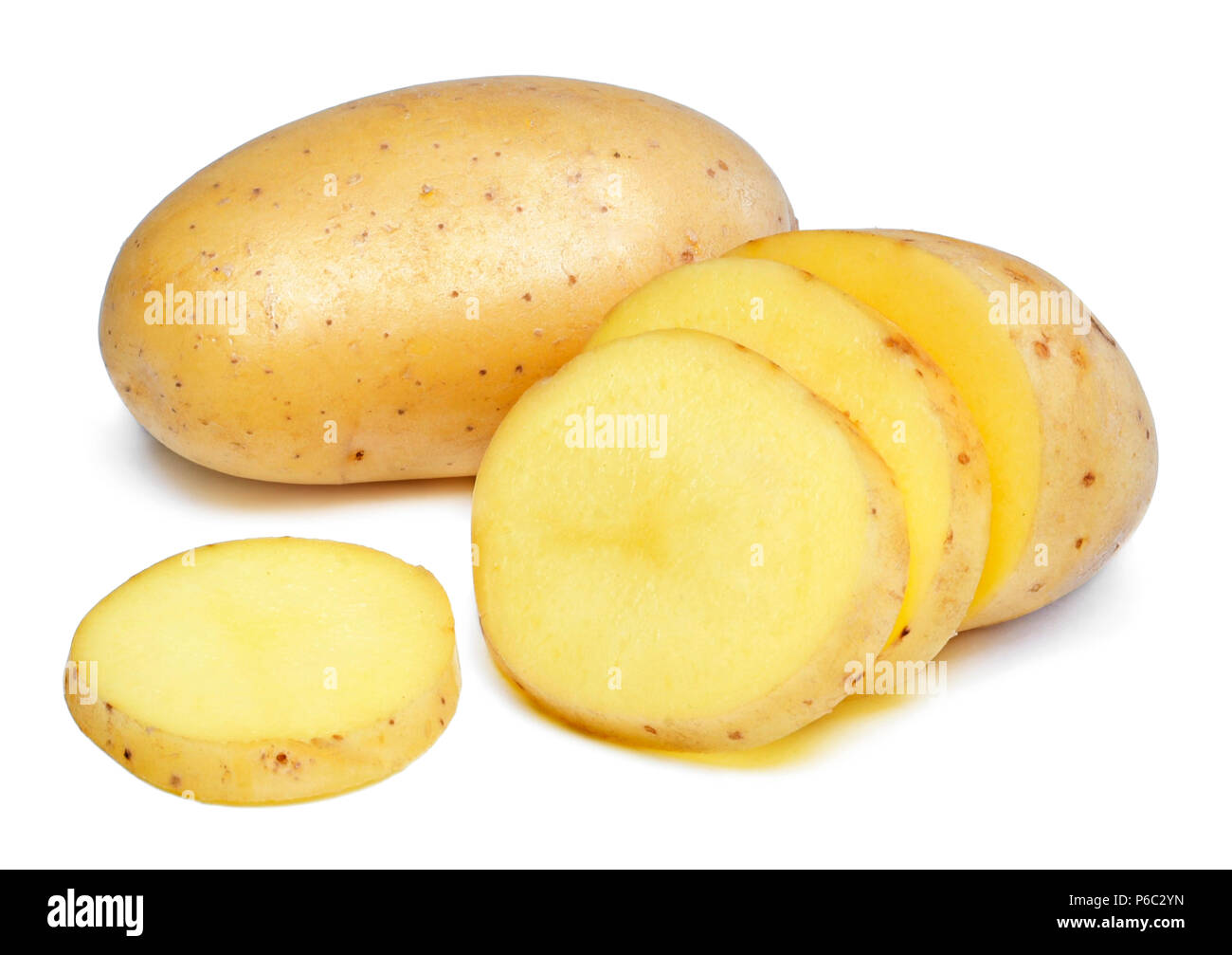 Potato isolated on white background. Fresh, raw potatoes, studio shot. Cooking ingredient. - Stock Image