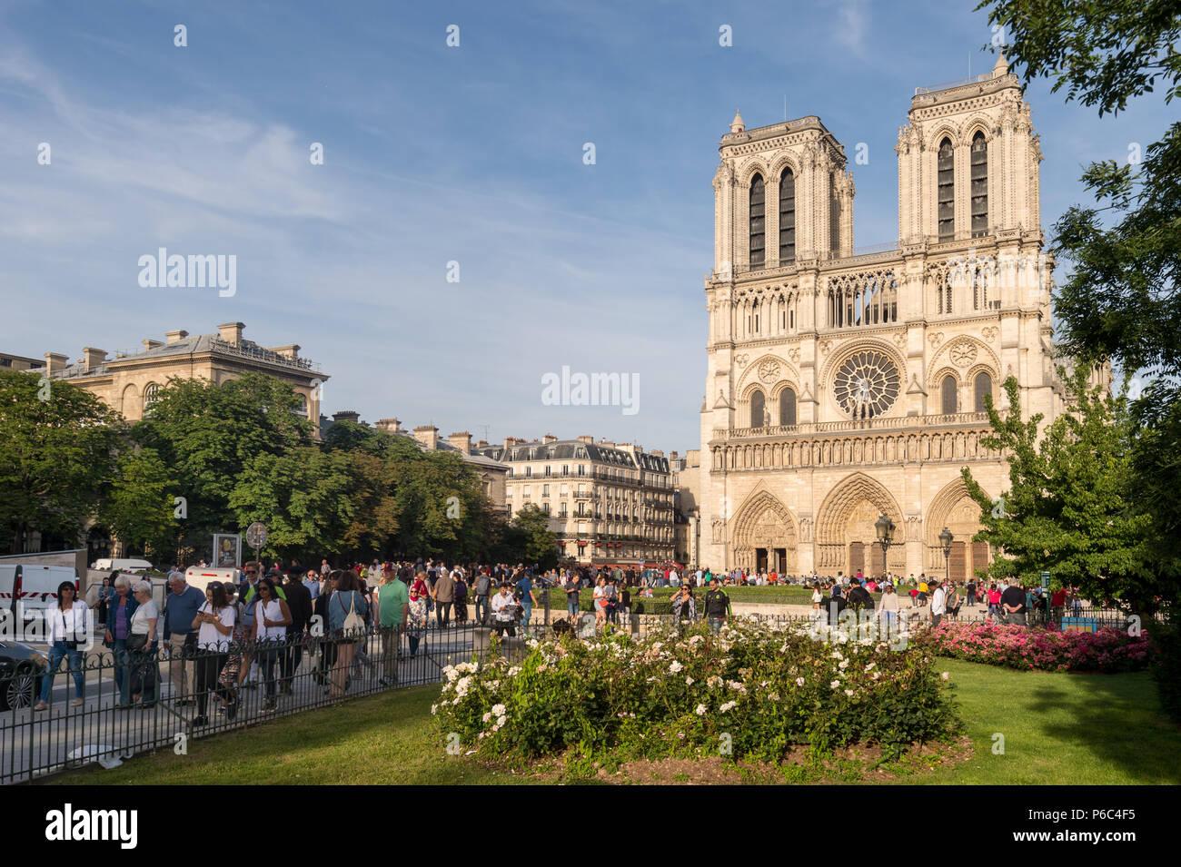 Paris, France - 24 June 2018: Tourists visiting Notre-Dame Cathedrale. Stock Photo