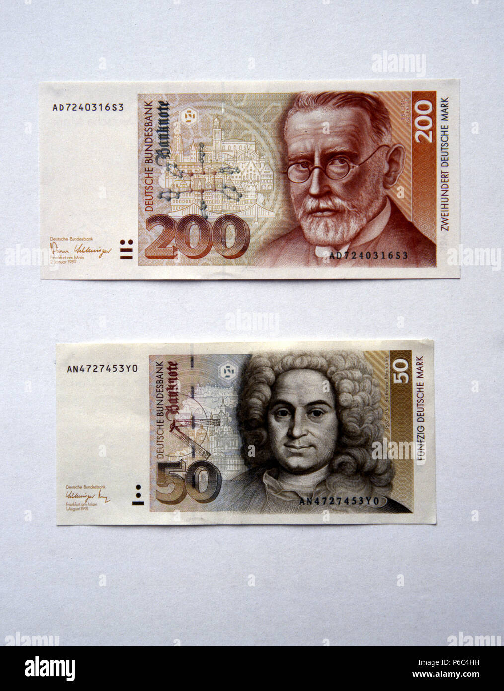 Berlin, Germany - Banknotes worth 50 DM and 200 DM - Stock Image