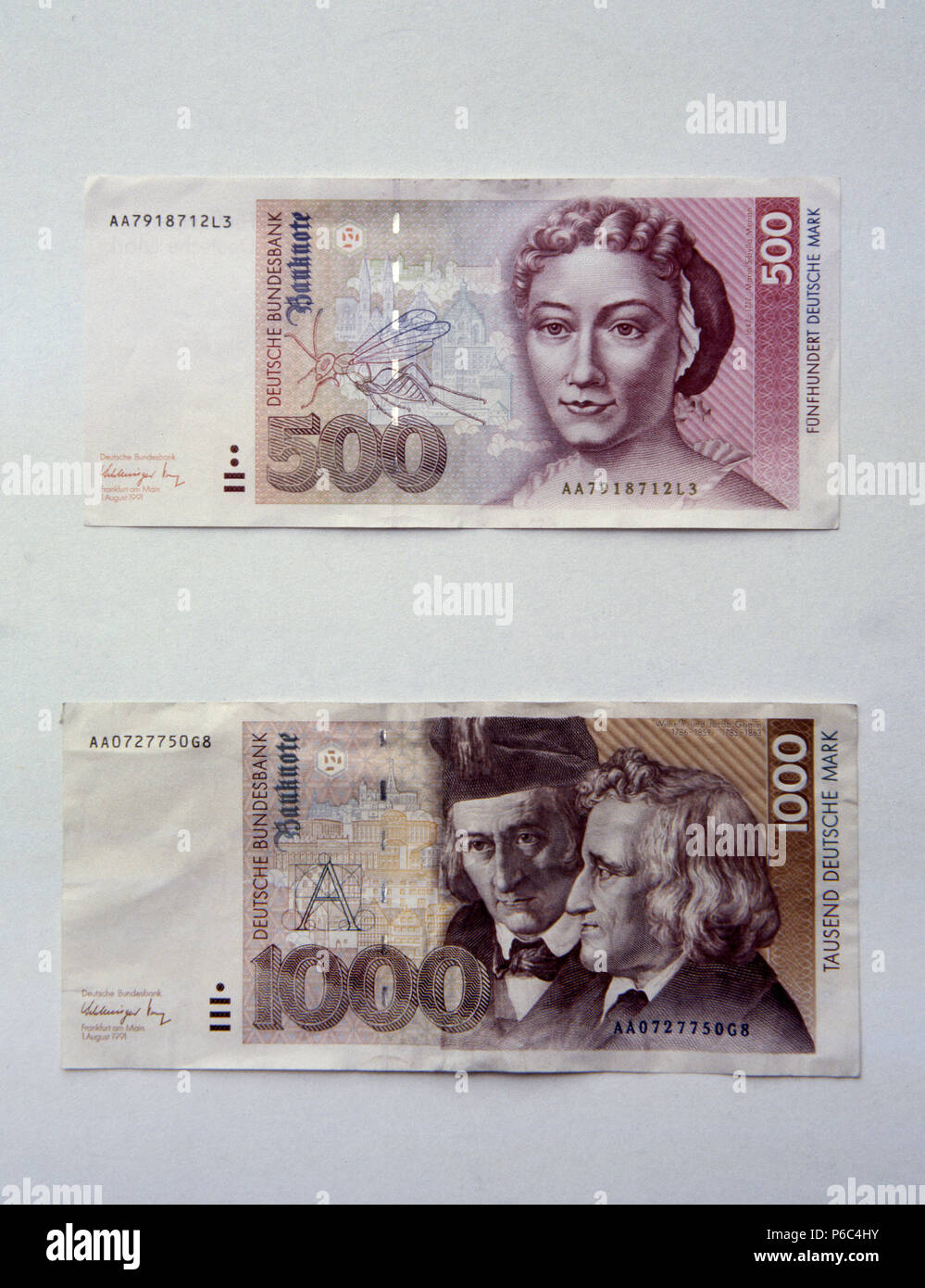Berlin, Germany - Banknotes worth 500 DM and 1000 DM - Stock Image