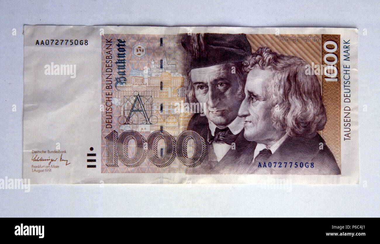 Berlin, Germany - Banknote worth 1000 DM - Stock Image