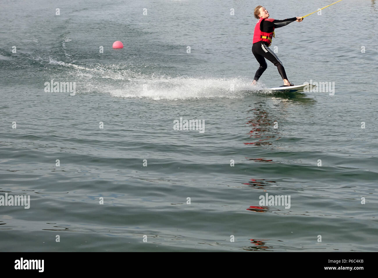 Zossen, Germany - Boy at wakeboarding - Stock Image